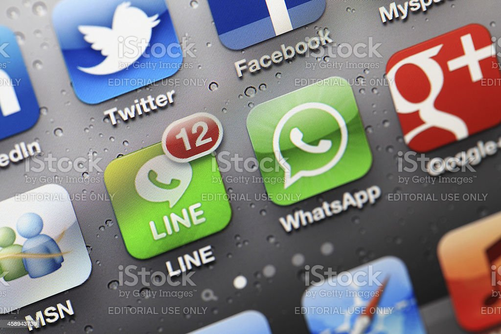 Social Media Applications on iphone stock photo