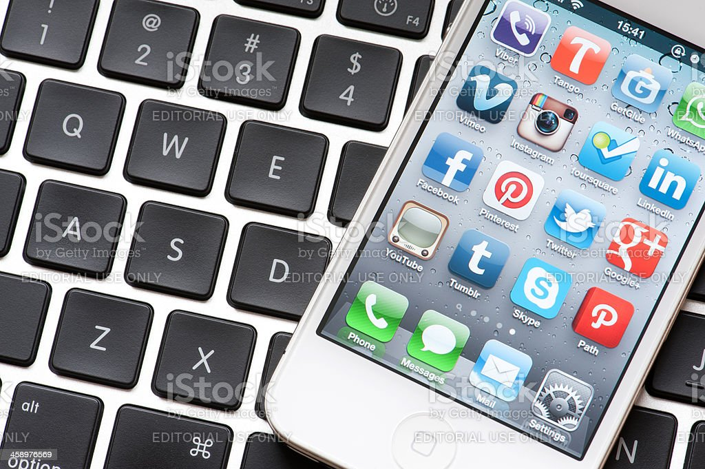 Social Media Applications on Iphone royalty-free stock photo