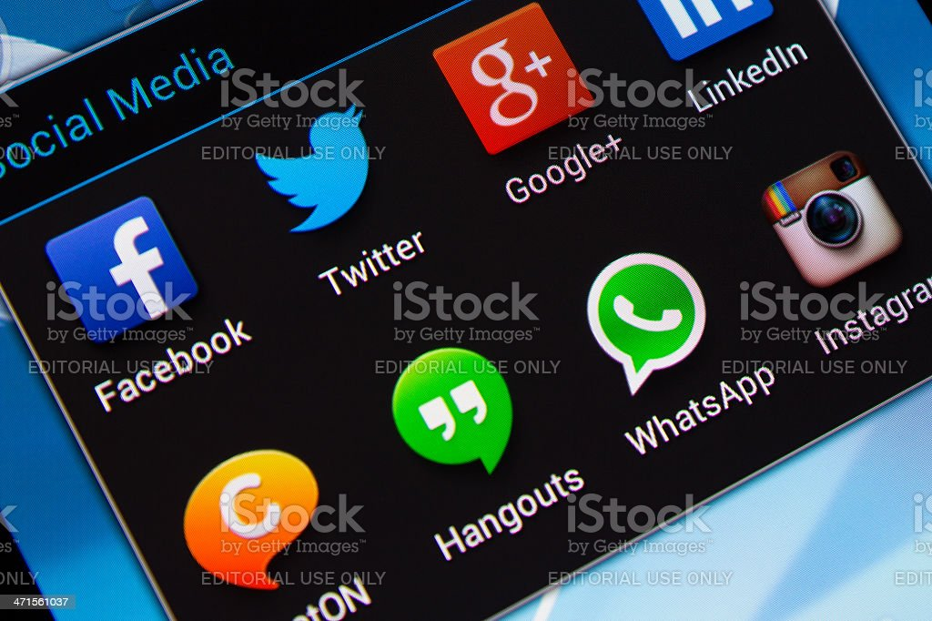 Social media applications on mobile phone stock photo
