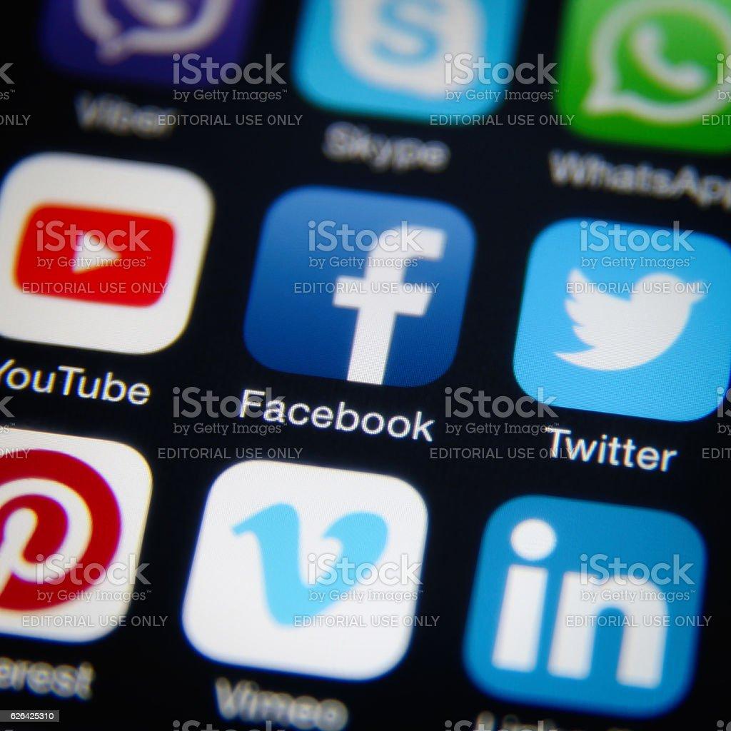 Social media applications stock photo