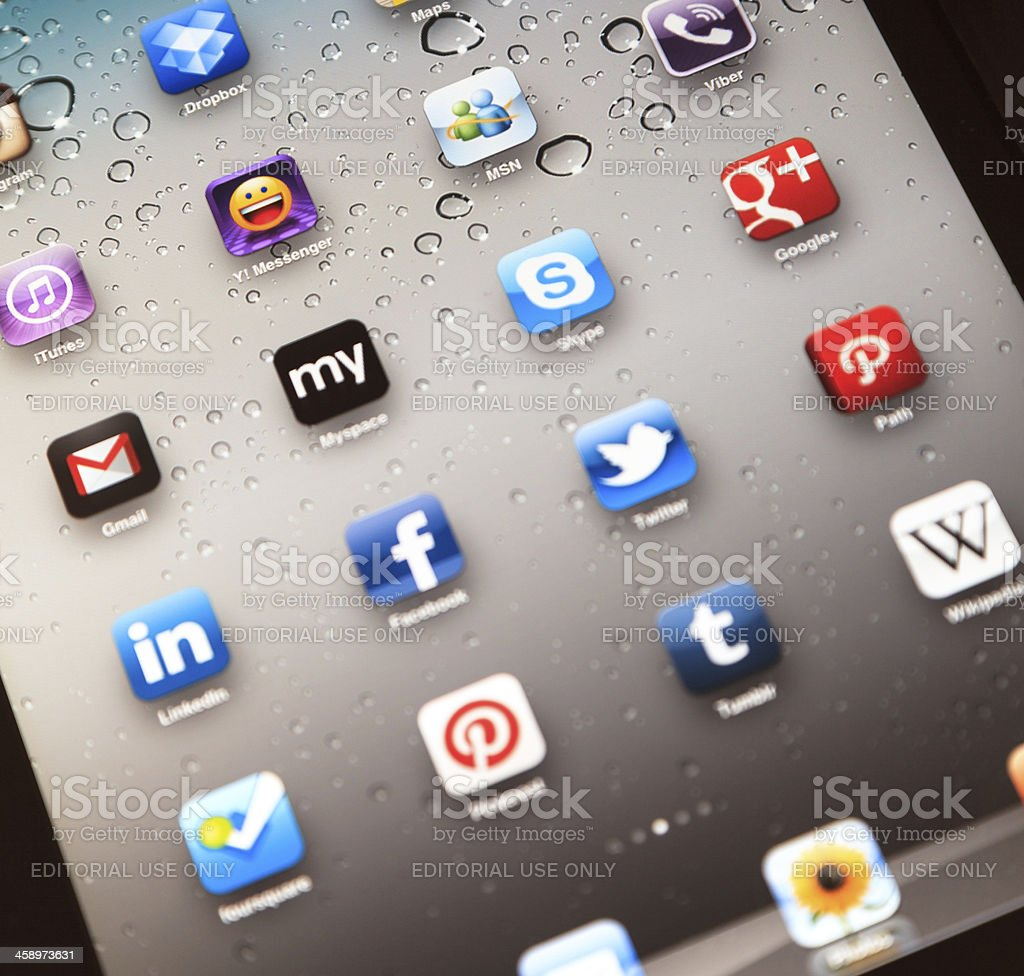 Social Media Apps on Apple iPad 2 royalty-free stock photo