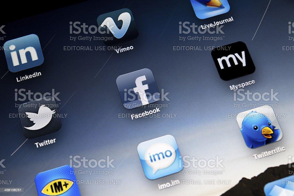 Social Media Apps on Apple iPad2 royalty-free stock photo