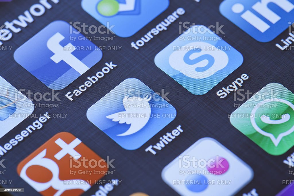 Social Media Apps on Apple iPhone 4 royalty-free stock photo