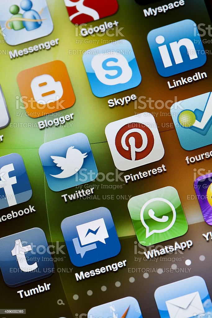 Social Media Apps on Apple iPhone 4 stock photo