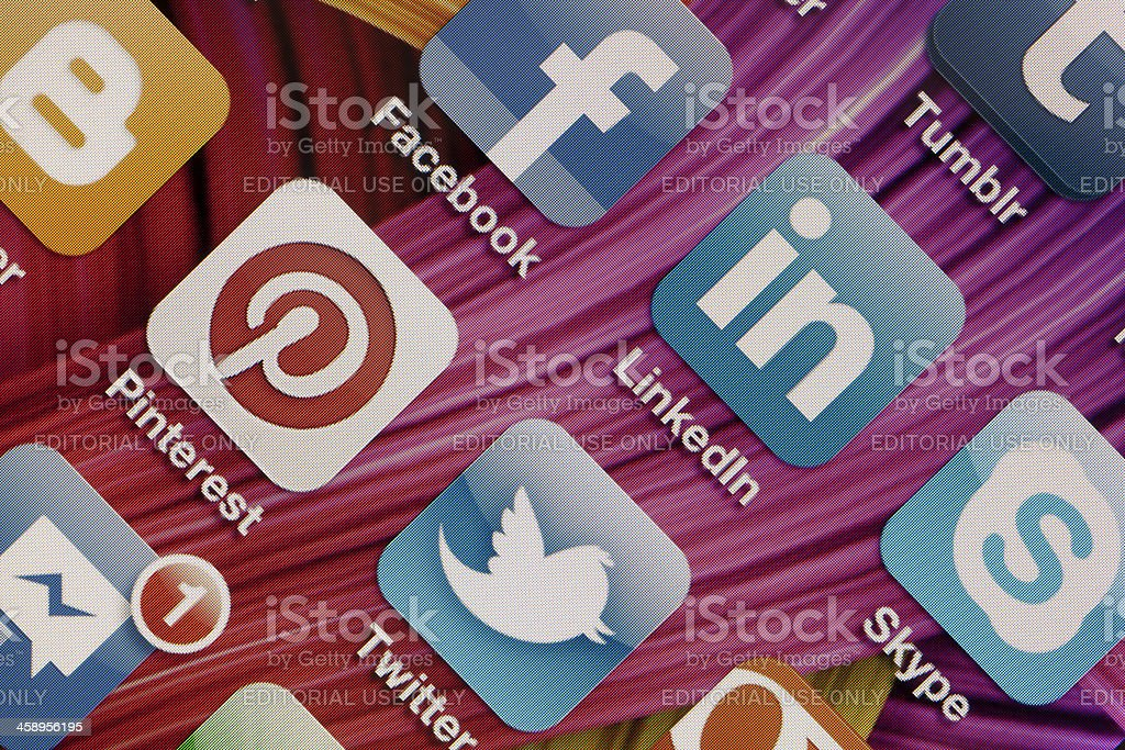 Social Media Apps on Apple iPhone 4 Screen stock photo