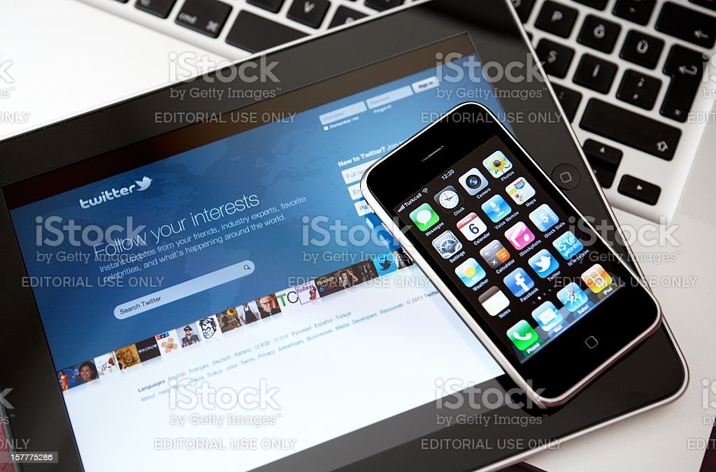 Social Media Apps on Apple iPhone and iPad stock photo