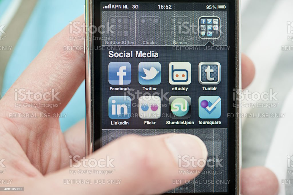Social Media apps on Apple iPhone royalty-free stock photo
