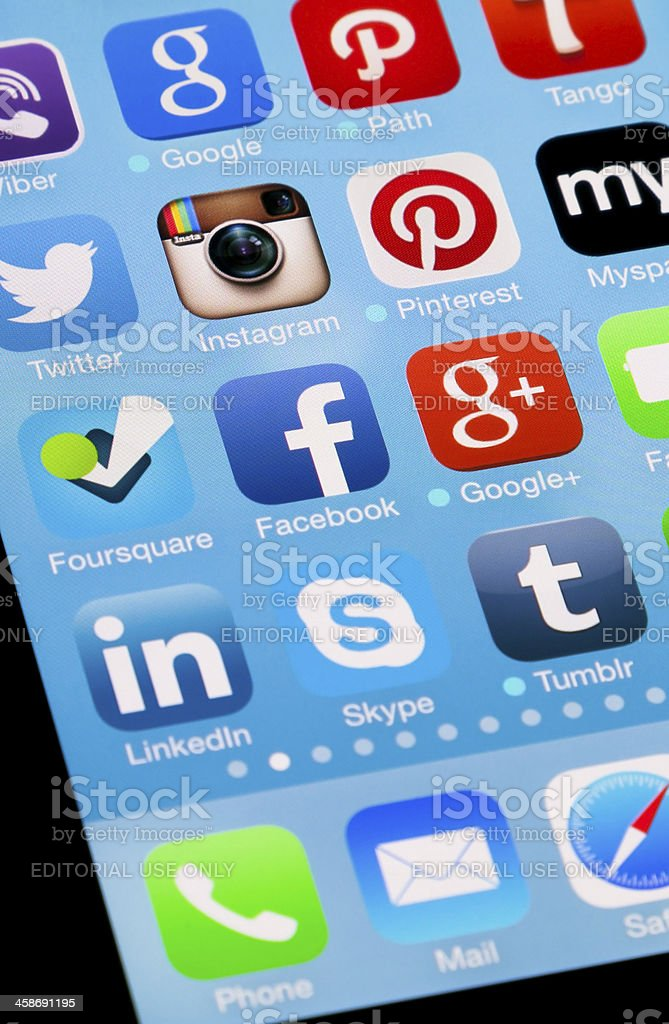 Social Media Apps on Apple New iPhone 5 royalty-free stock photo