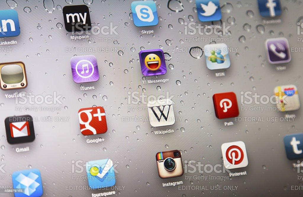 Social Media Apps on iPad 2 royalty-free stock photo