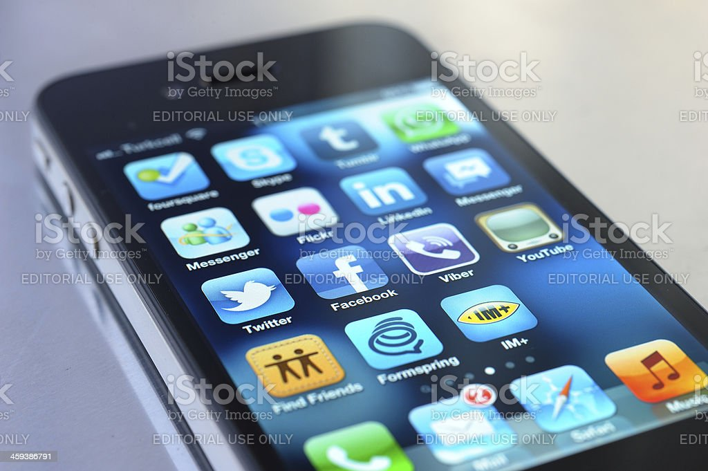 Social Media Apps on iPhone 4 royalty-free stock photo
