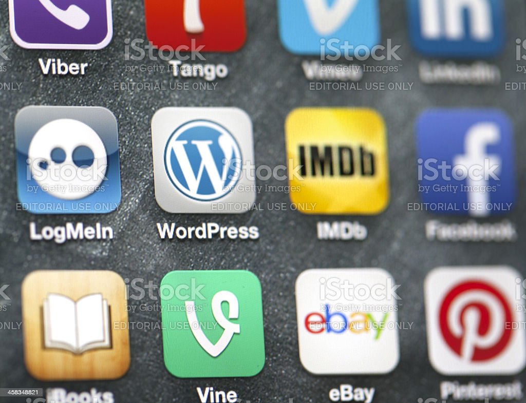 Social media apps on iPhone 5 screen royalty-free stock photo