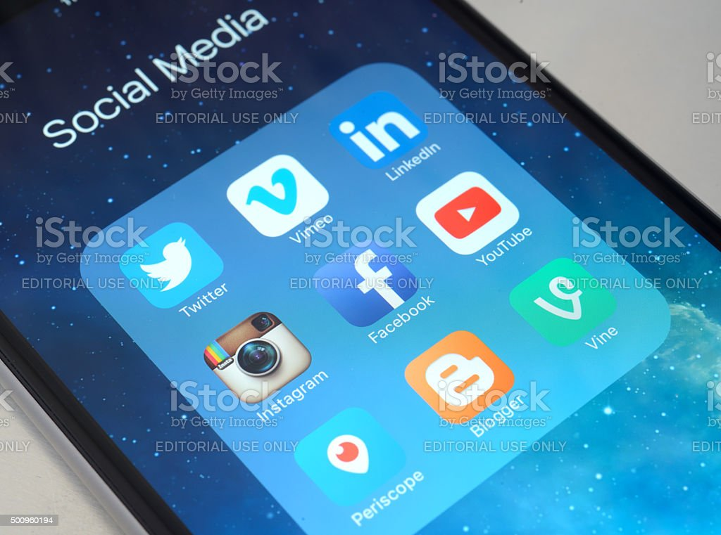 Social media apps on iPhone 6 Plus stock photo