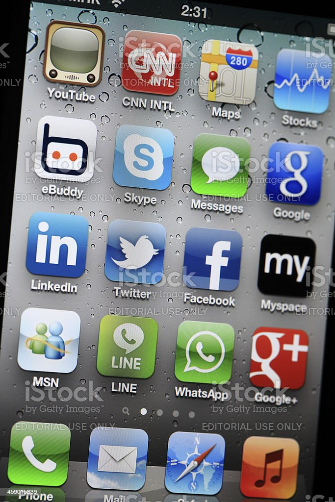 Social Media Apps on iphone stock photo