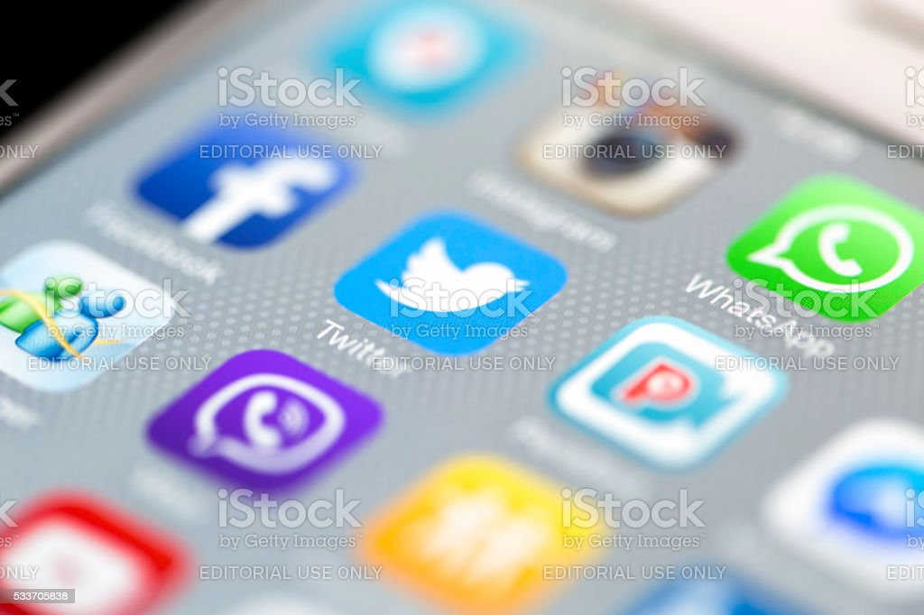 Social Media Apps with Whatsapp on iPhone 6 Screen stock photo
