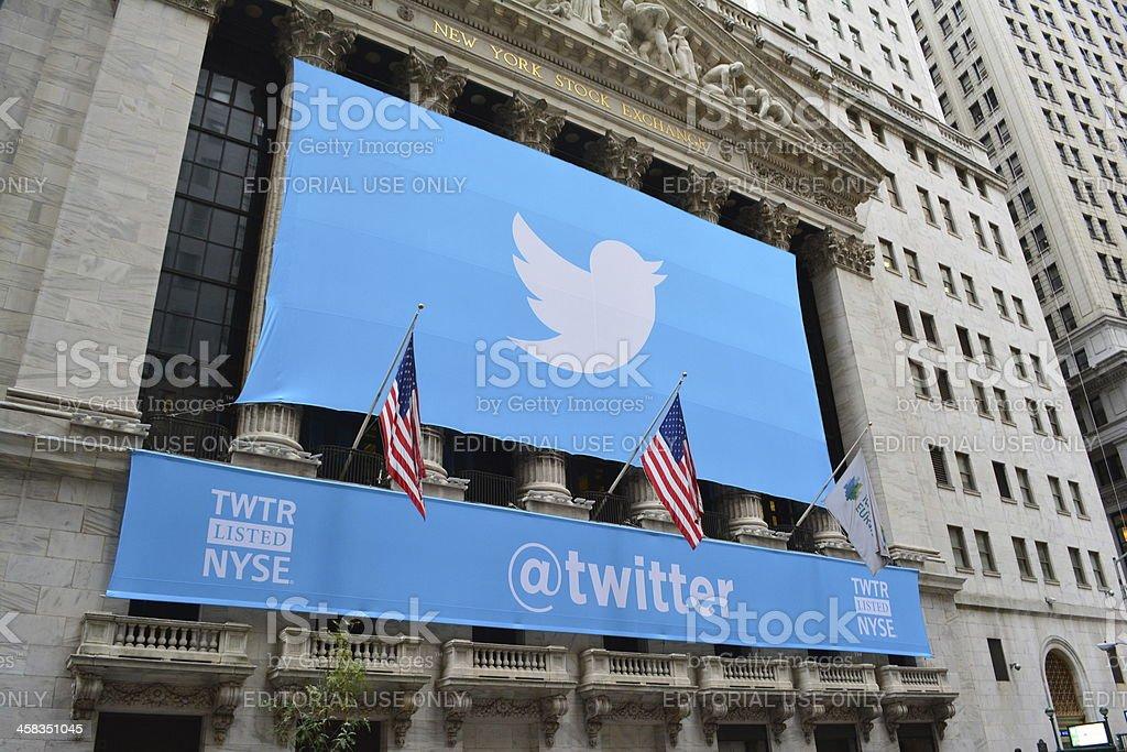 Social media banner on stock exchange in New York stock photo