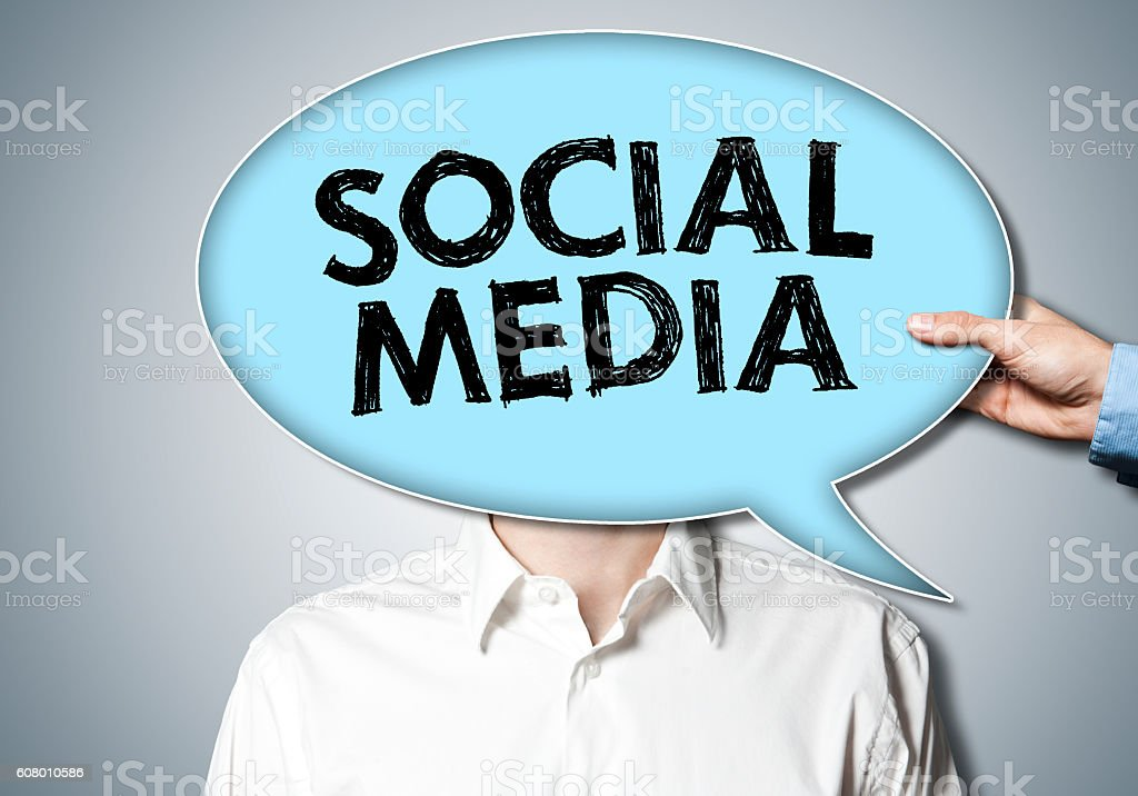 Social Media / Bubble speech (Click for more) stock photo