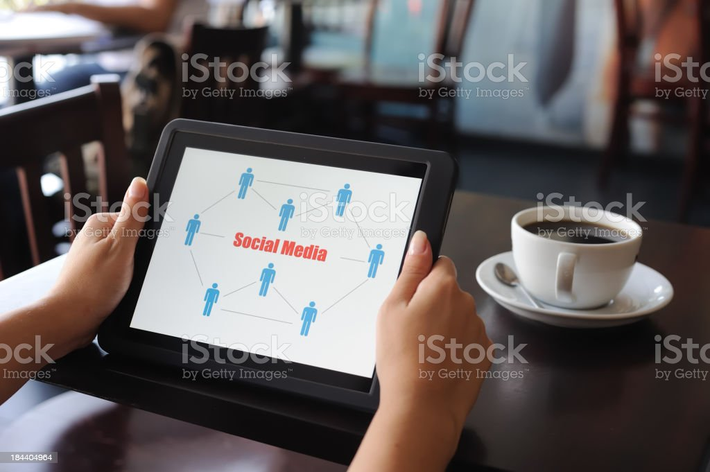 Social Media chart on digital tablet royalty-free stock photo