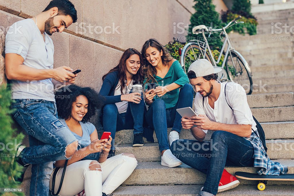 Social media communication stock photo