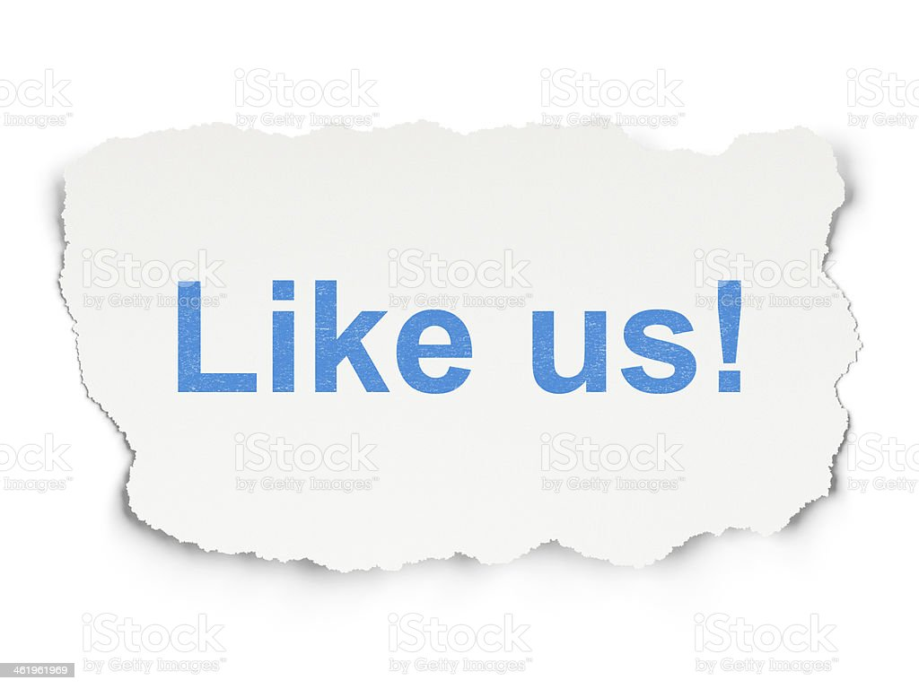 Social media concept: Like us! on Paper background stock photo
