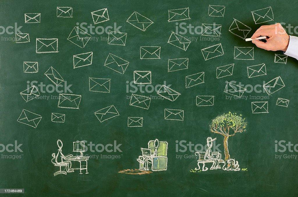 Social Media Concept on Blackboard royalty-free stock photo