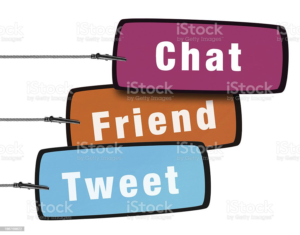 Social Media Concept Speech Bubble in Wire Clam (Clipping Path) royalty-free stock photo