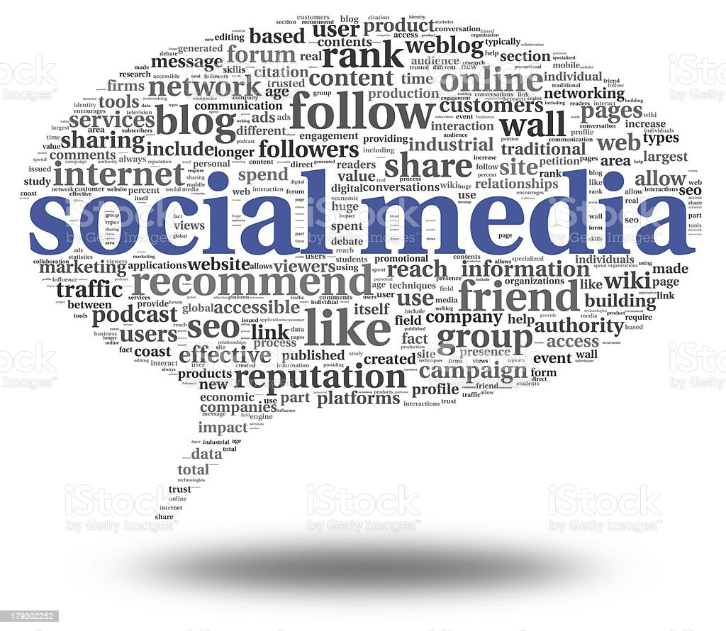 Social media conept in word tag cloud royalty-free stock photo