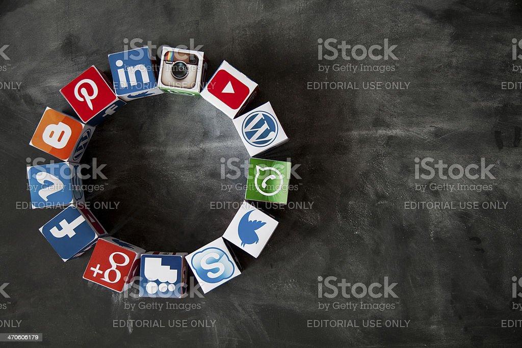 Social media cubes on a blackboard stock photo
