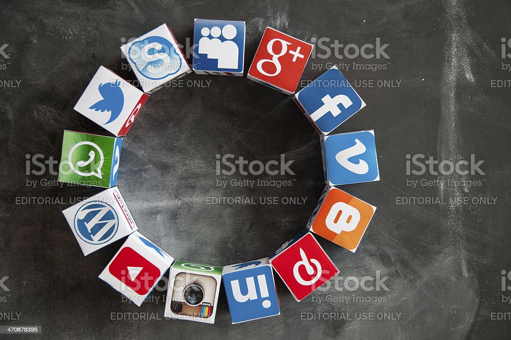 Social media cubes on a blackboard royalty-free stock photo