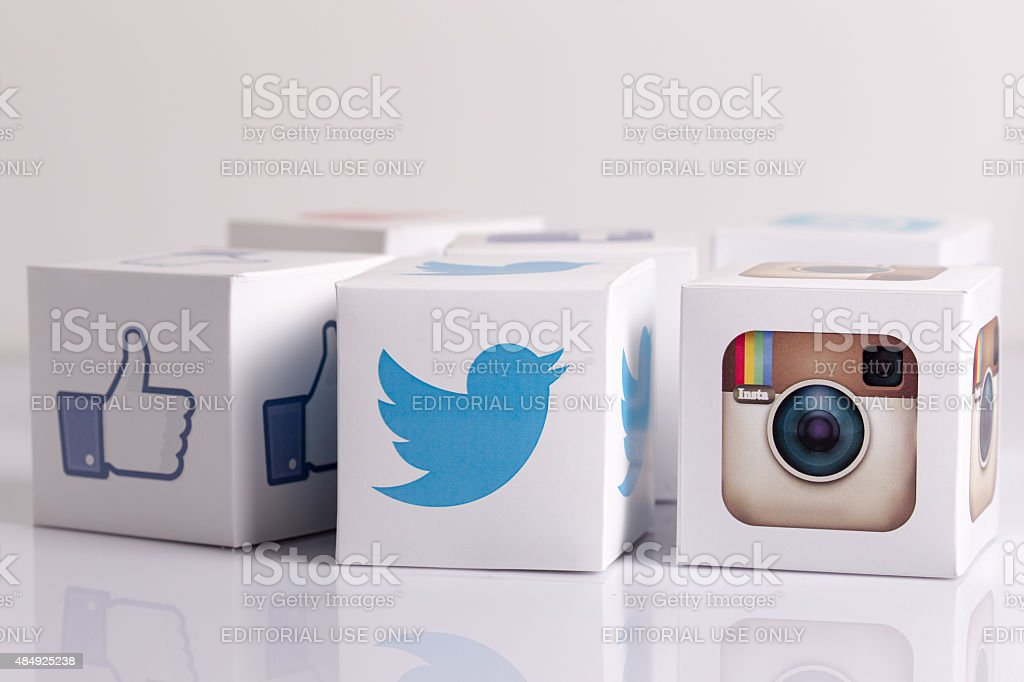 Social Media Cubes on a White Background stock photo