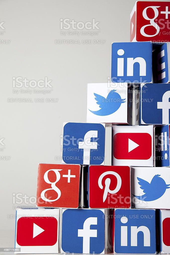 Social media cubes stock photo