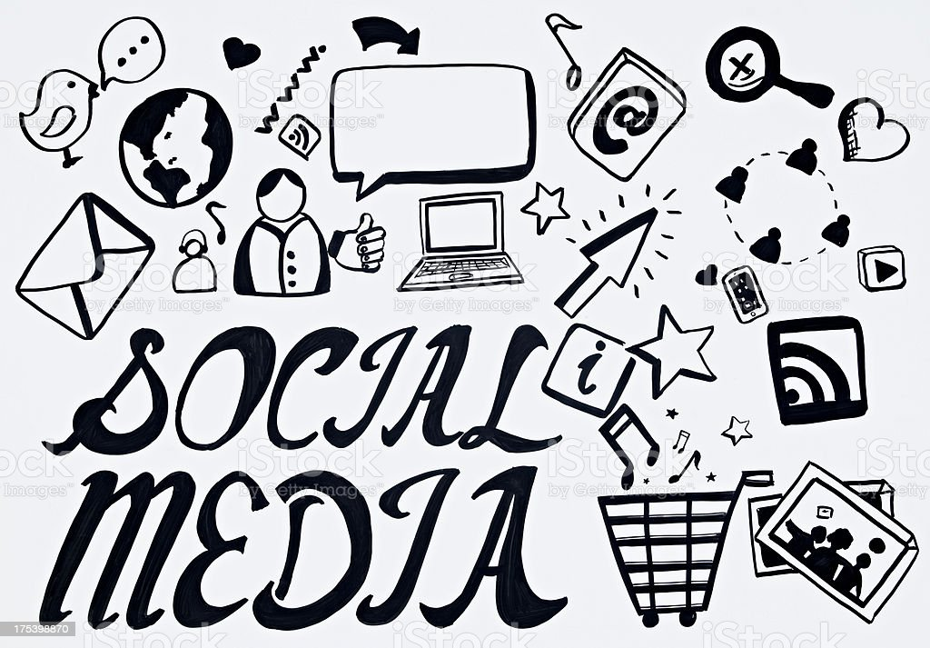 Social Media Doodle royalty-free stock photo