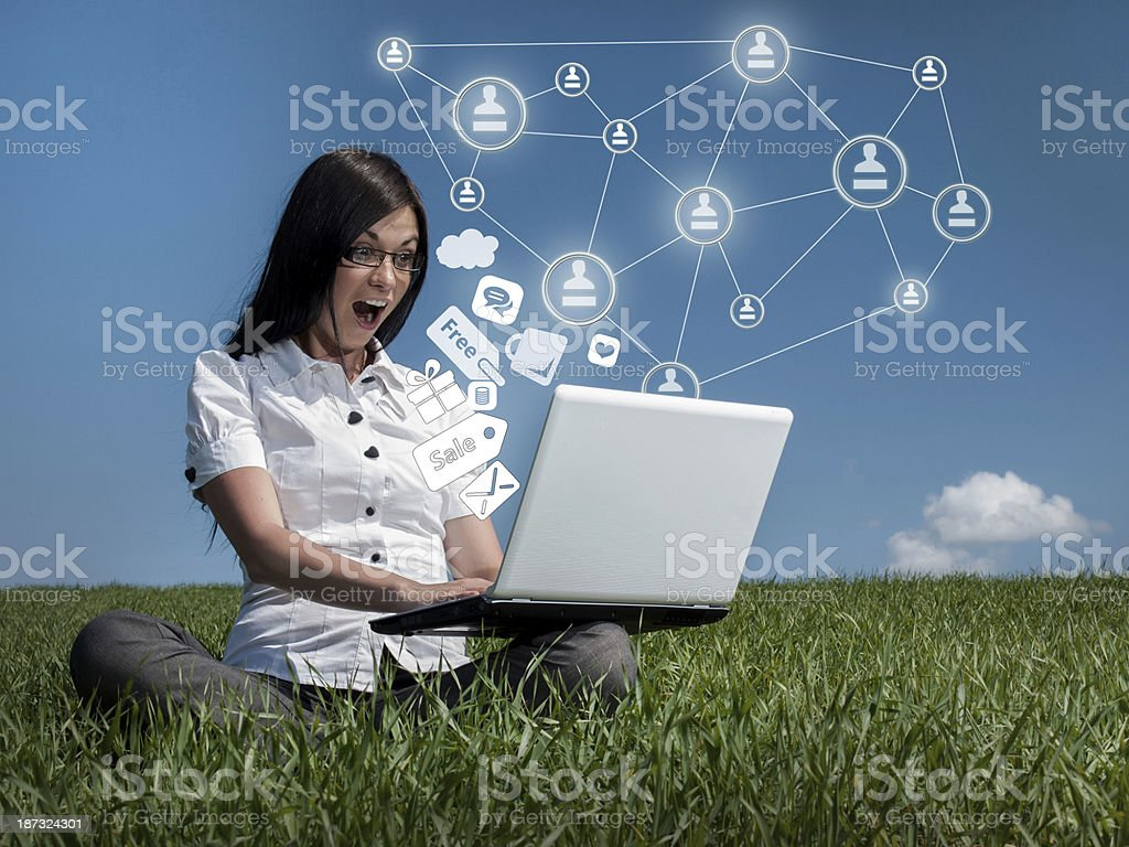 Social media from laptop royalty-free stock photo