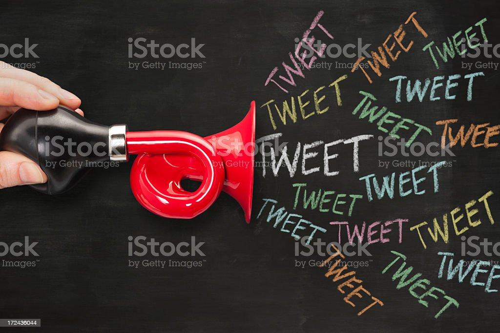 Social media horn or trumpet royalty-free stock photo