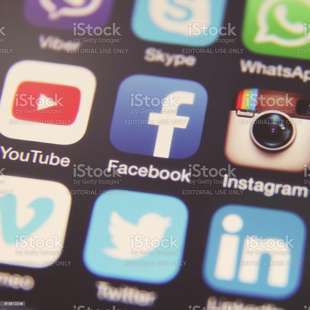 Social media icon logo application stock photo