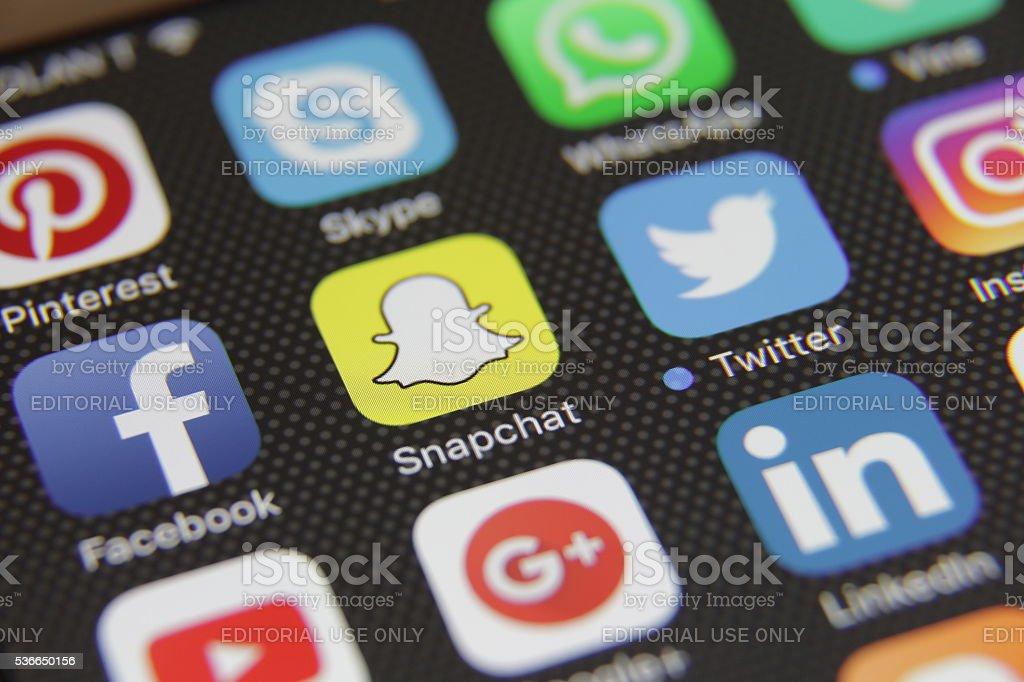 Social media icons applications stock photo