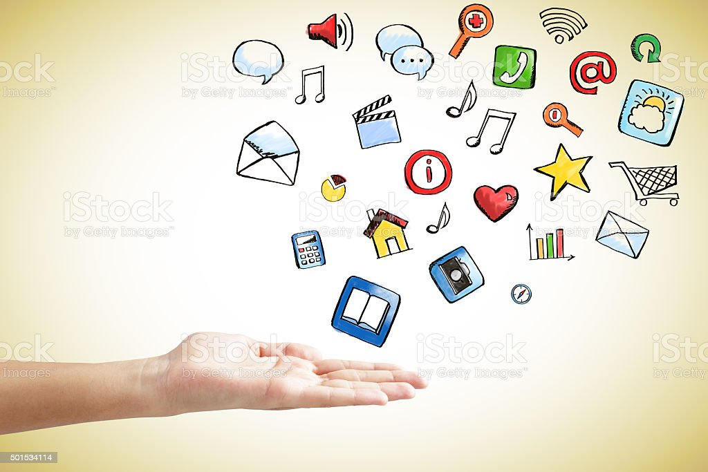 Social media icons concept with man hand stock photo