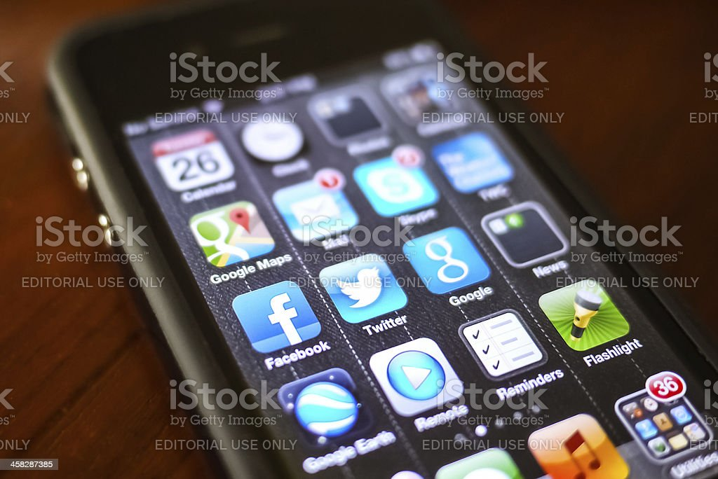 Social Media Icons on iPhone stock photo