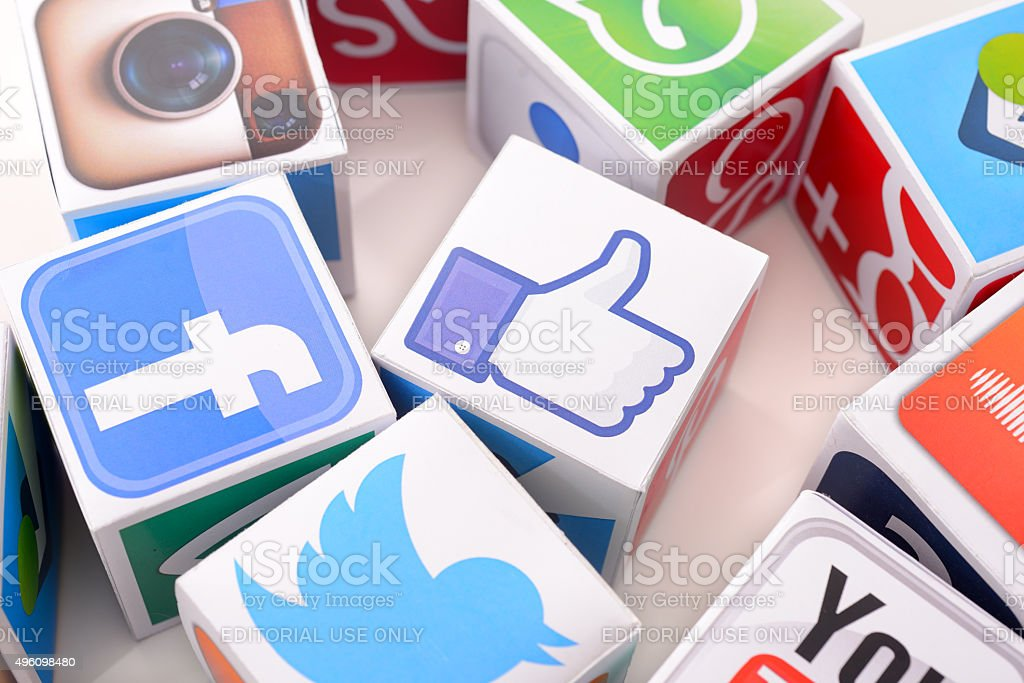 Social media icons on paper cubes stock photo