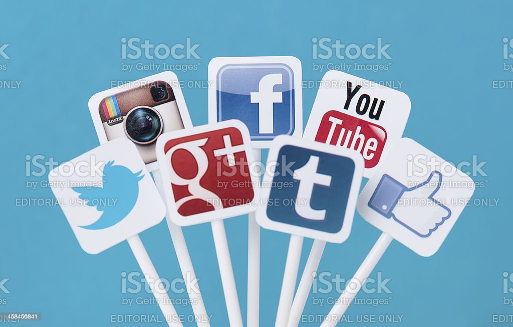 Social media icons on plastic signs royalty-free stock photo