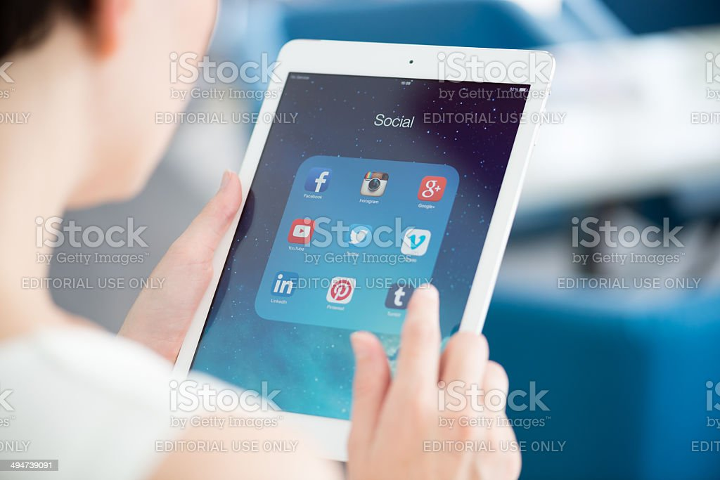 Social media icons on tablet PC screen stock photo