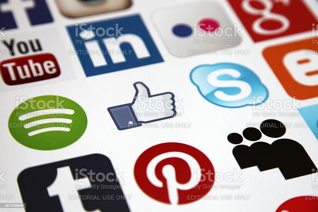 Social media icons stock photo