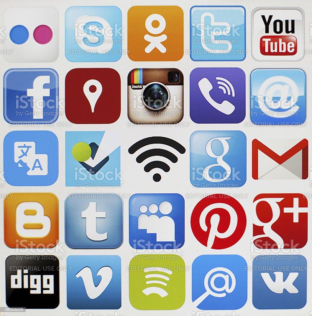 Social media icons. stock photo