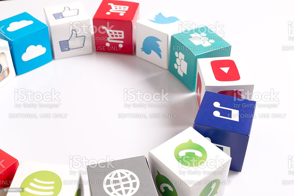 Social Media Icons Printed Paper Cubes stock photo