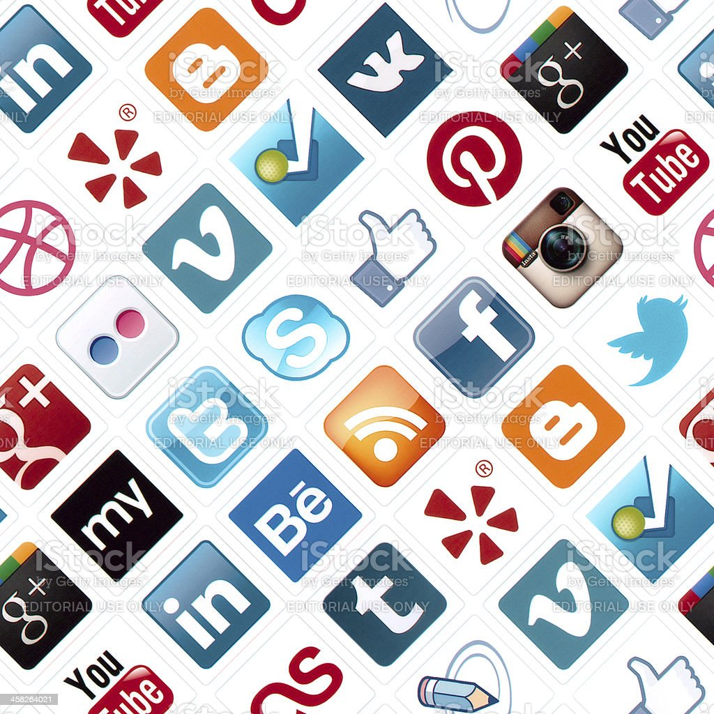 Social Media Icons Seamless Pattern stock photo