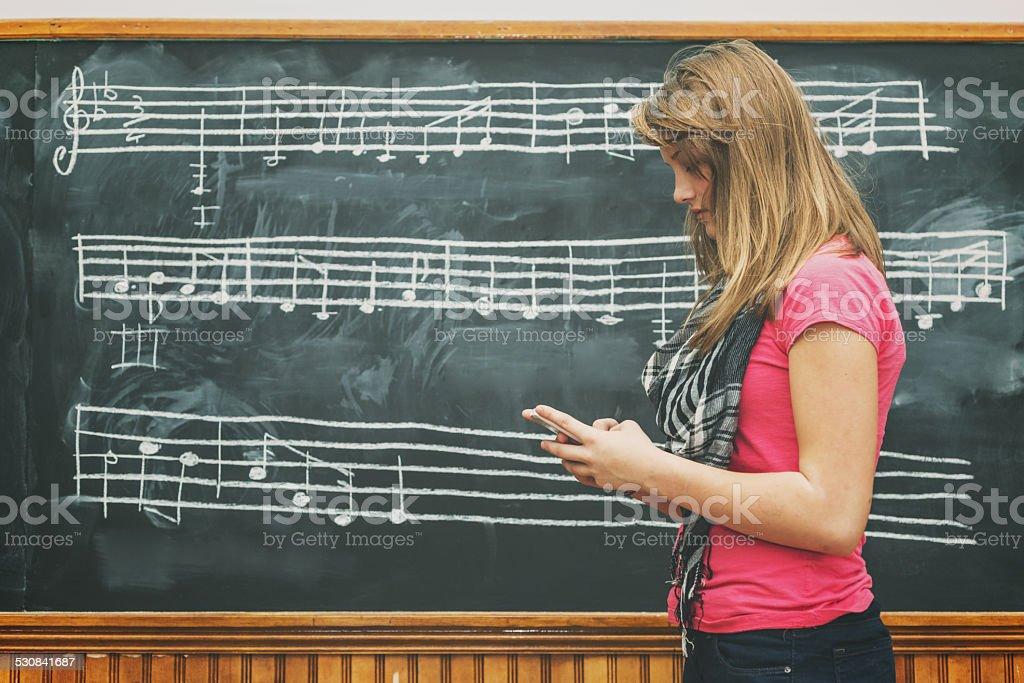 Social Media in Music Class stock photo