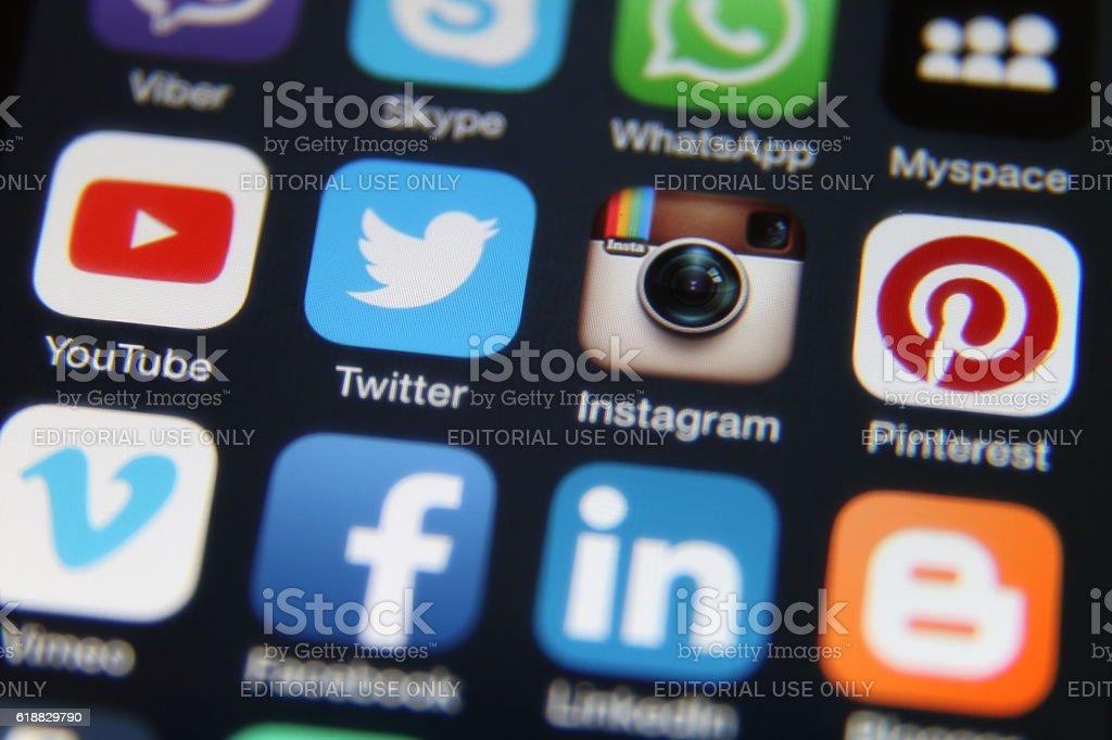 Social media internet application icons stock photo