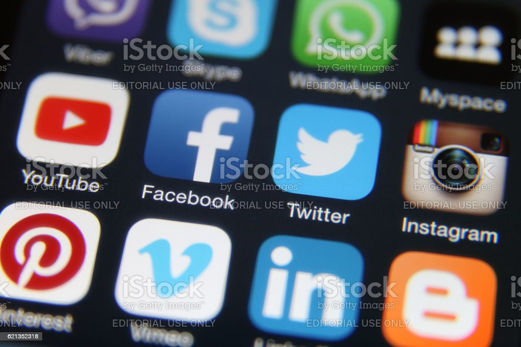 Social media internet application icons stock photo