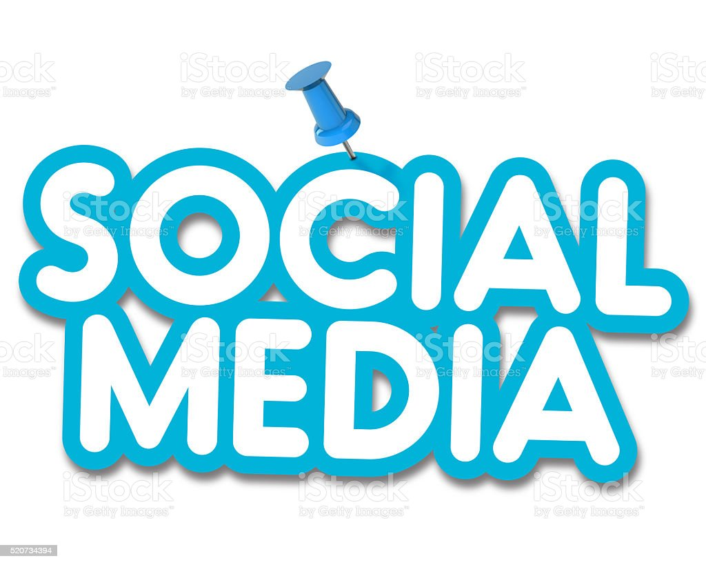 Social media label pinned to a plain white background stock photo