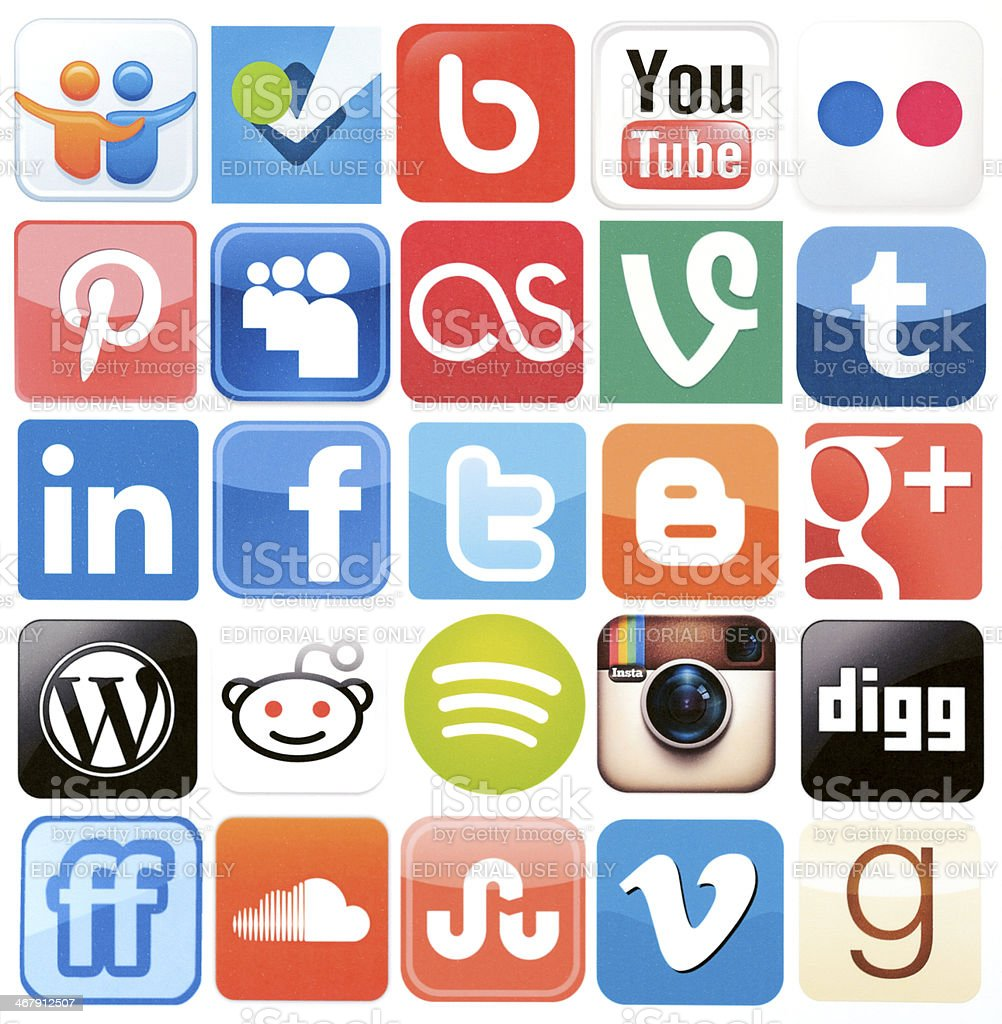 Social Media logos & icons stock photo
