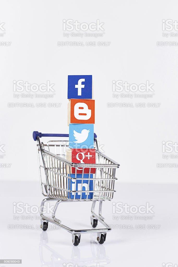 Social Media Logos in Shopping Cart stock photo